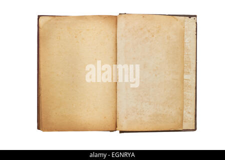Old opened book with blank pages on wooden background Stock Photo - opened book