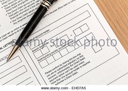 A direct debit form Stock Photo 39349123 - Alamy - direct debit form