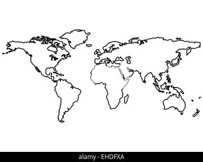World map outlines Vector black and white image Stock Vector Art