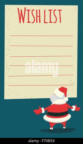 Vector vintage Christmas wish list letter design with cartoon Santa - santa list blank