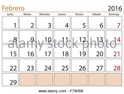February sheet in an spanish desk Calendar for year 2018 Monthly