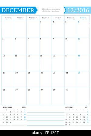 A monthly planner calendar for December 2016 A custom handwritten