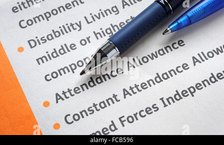 DISABILITY LIVING ALLOWANCE INFORMATION FORM RE THE ELDERLY BENEFITS - attendance allowance form