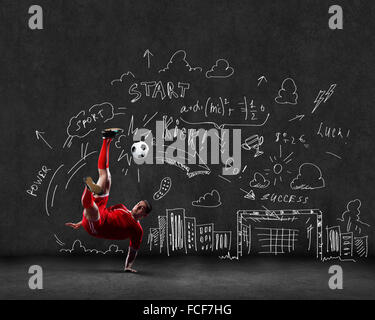 Football player in jump with sketches at background Stock Photo - background sketches