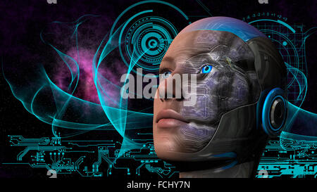 Cyborg woman with deep space and circuit design background Stock - circuit design background