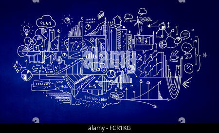 Background image with sketches of plan and startegy Stock Photo - background sketches
