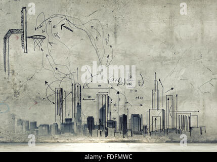 Background image with sketches and drawings on grey wall Stock Photo - background sketches