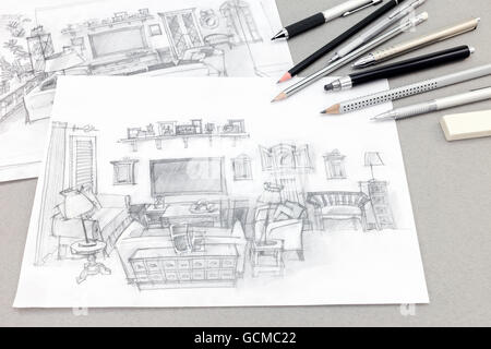 Background image with construction sketches on white backdrop Stock - background sketches