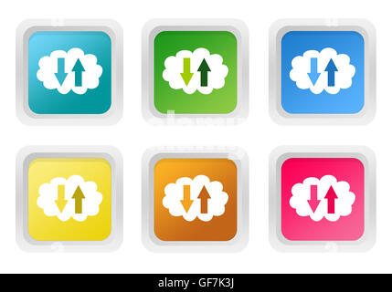 Database red, blue, green and pink vector icon set Web icons Flat