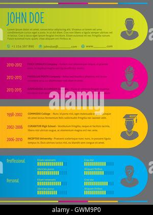 Colorful modern resume cv curriculum vitae template design with