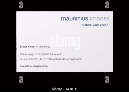 Business card, only editorially! Card, name, address, address Stock