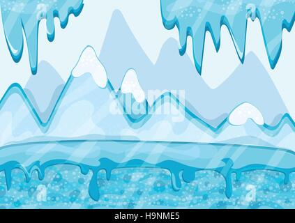 Iceland - Cartoon Vector Illustration - ice floes in the ocean Stock