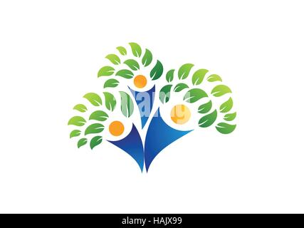family tree symbol icon logo design template Stock Vector Art