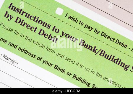 Direct Debit Form Stock Photo 44004804 - Alamy - direct debit form
