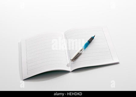 Open notebook with blank lined pages and pen for your design Stock - lined page