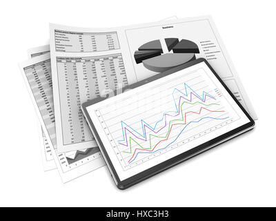 Tablet screen with 3d graph and a paper with statistic charts - 3d graph paper