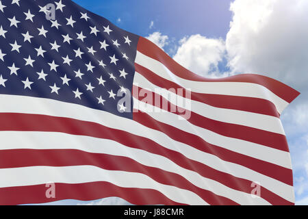 3D waving American flag background with fifty stars and red white - America Flag Background