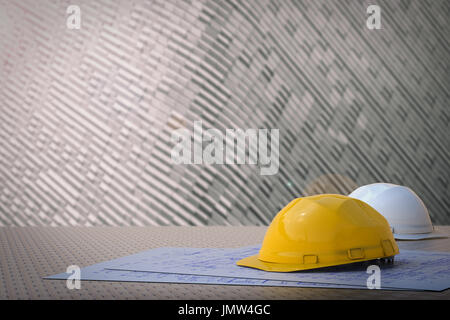 civil engineer concept with safety helmets and pipeline Stock Photo
