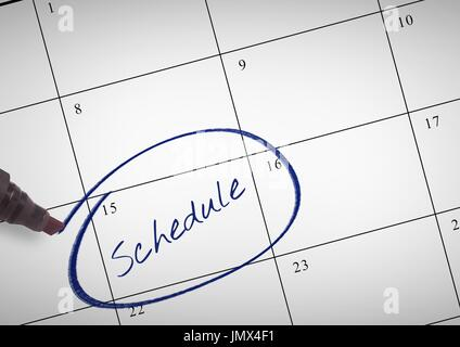 Digital composite of Schedule Text written on calendar with marker