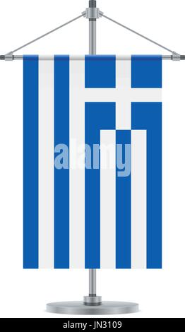 Flag design Greek flag on the metallic pole Isolated template for