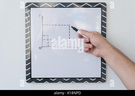 The guy is drawing a schedule on a white board Male hand with a