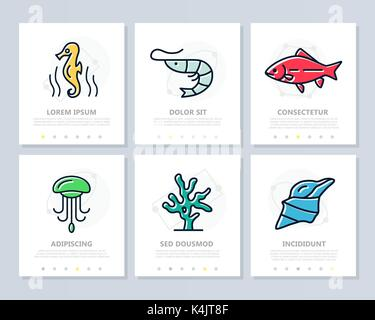 Set of fish and sea food colored elements for multipurpose a4