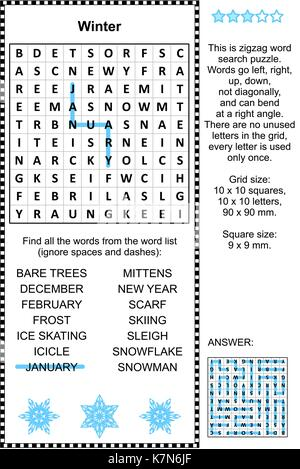 Word puzzle (English language) with winter and holiday words written