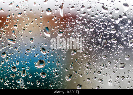 Water droplets on the glass with a colored background Drops of - water droplets background
