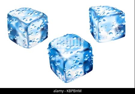 Ice cube Realistic vector illustration isolated on background Stock
