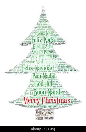 Words cloud, Christmas concept made with Christmas Tree shape and - christmas tree words