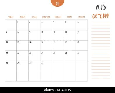 October month in a year 2018 wall calendar in spanish Octubre 2018
