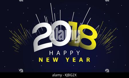 Happy New Year 2018 Illustration with Firework and 3d Text on Shiny
