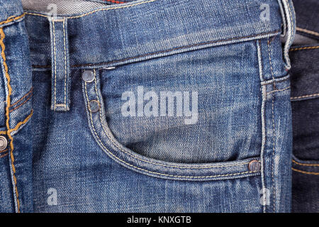 pocket of blue shabby jeans with stitching Stock Photo 185154735