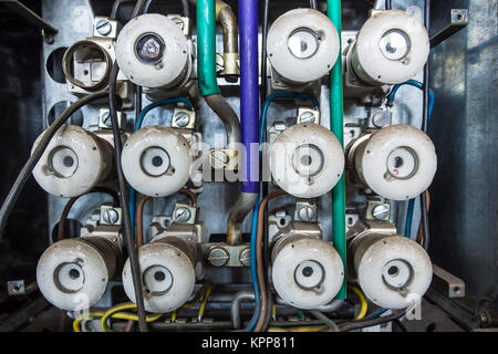 an old broken around fuse box Stock Photo 281461502 - Alamy
