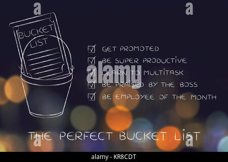 bucket list with employee\u0027s career goals, ticked off Stock Photo - list of career goals