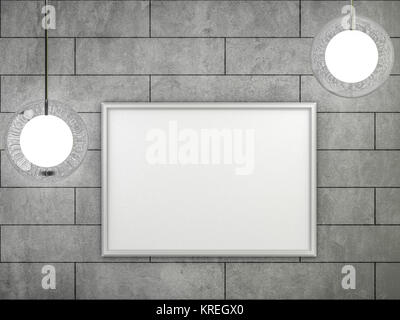 White blank poster with frame mock-up on wall 3D rendering Stock