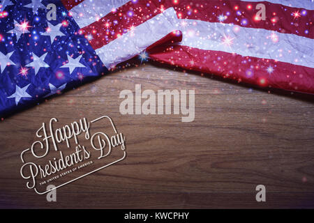 USA Flag with Shining Star on Brown Wooden Board America Flag Stock - America Flag Background