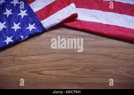 Screwed Up USA Flag on Brown Wooden Board America Flag Background - America Flag Background