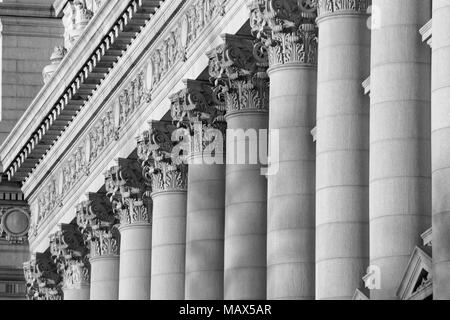 A series of Corinthian Columns in Black  White Stock Photo
