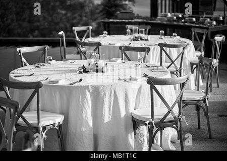 The Black and White of wedding reception dinner table setup, with