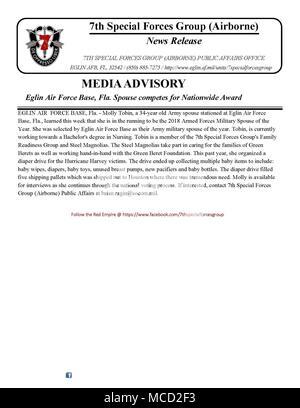 Media Advisory Eglin Air Force Base, Fla Spouse competes for