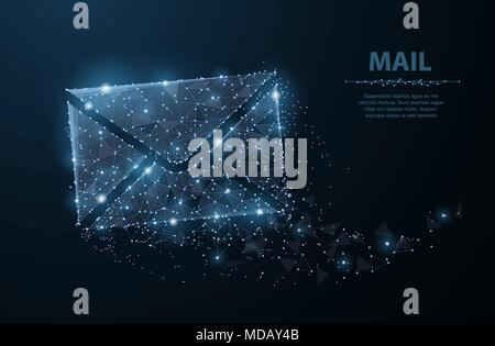 Message Polygonal wireframe mesh with dots and stars Mail, Letter - mail background