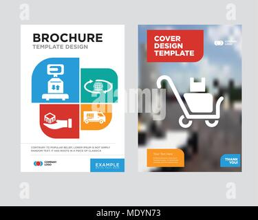 Free delivery truck brochure flyer design template with abstract
