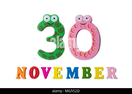 November 2, on a white background, numbers and letters Calendar