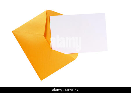 Brown manila envelope, blank letter or message card, paper clip