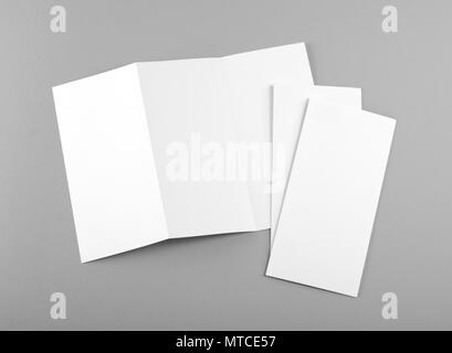 blank white folding paper flyer, identity design, corporate
