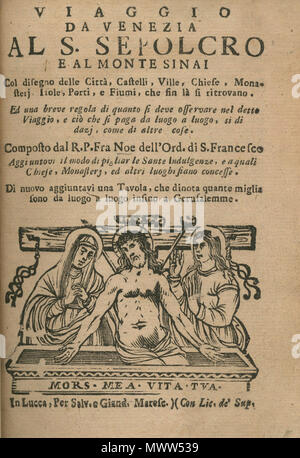Title page Entombment of Christ Bianco Noe 1600 Stock Photo