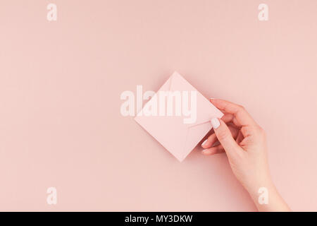 Small love millennial pink letter with copy space on bold yellow