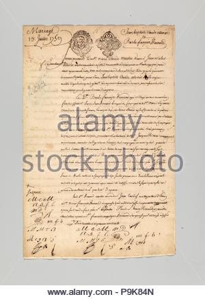 Marriage Contract Between Jean Baptiste Claude Allevin, Gunmaker