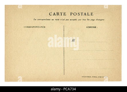 Back of historical French postcard blank card with correspondence